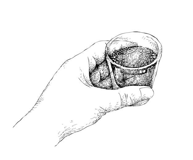 Mão desenhada pessoa segurando um tiro de uísque