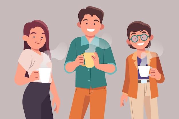 Mão desenhada pessoas com bebidas juntas