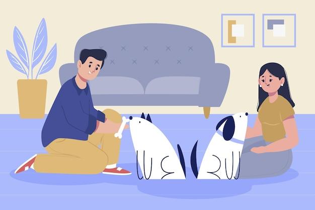 Mão desenhada pessoas com cachorros fofos