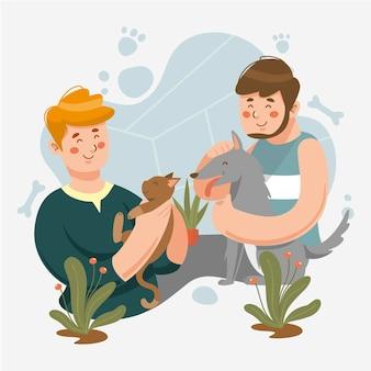 Mão desenhada pessoas com gato e cachorro