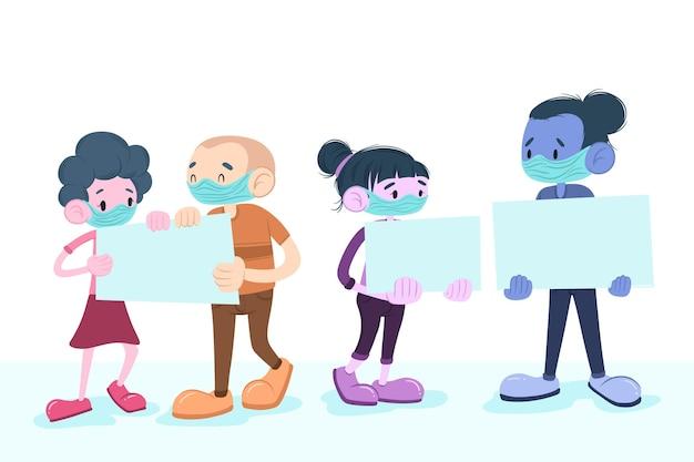 Mão desenhada pessoas com máscaras médicas com cartazes