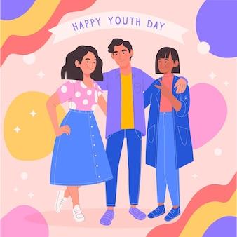 Mão desenhada pessoas comemorando o dia da juventude