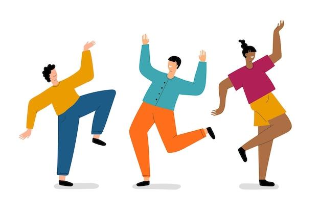 Mão desenhada pessoas dançando ilustração