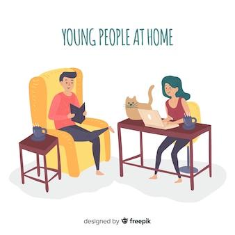 Mão desenhada pessoas em casa coleção
