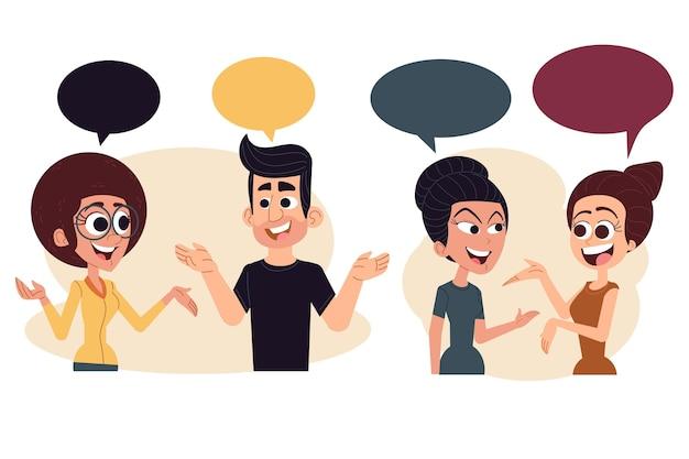 Mão desenhada pessoas falando sobre ilustração