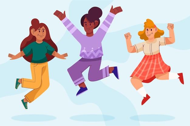 Mão desenhada pessoas pulando juntas