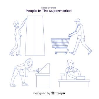 Mão desenhada pessoas sem cor no pacote de supermercado