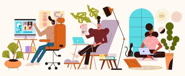 Mão desenhada pessoas trabalhando em casa