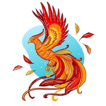 Mão desenhada phoenix pássaro e penas