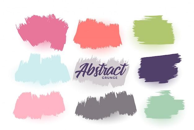 Mão desenhada pinceladas definidas em cores diferentes