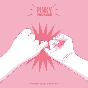 Mão desenhada pinky promessa composição
