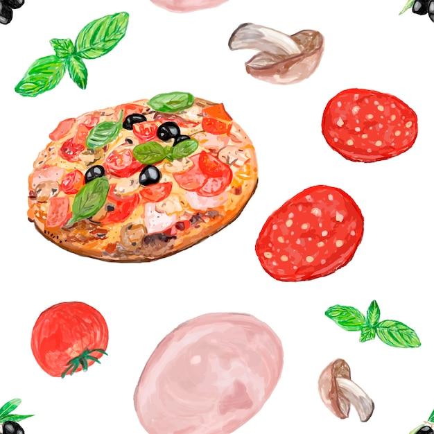 Mão desenhada pizza italiana estilo aquarela