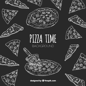 Mão desenhada pizza restaurante composição