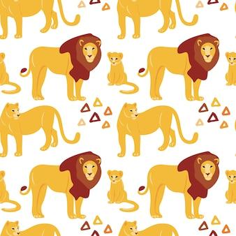Mão desenhada plana padrão sem emenda com leões