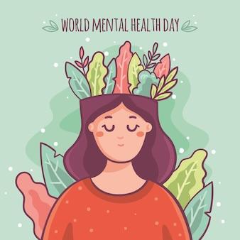 Mão desenhada plano de fundo dia mundial da saúde mental com cabeça de mulher e folhas