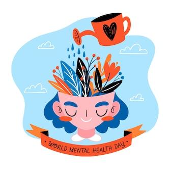 Mão desenhada plano de fundo dia mundial da saúde mental com cabeça e regador
