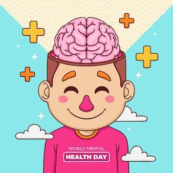 Mão desenhada plano de fundo dia mundial da saúde mental com cérebro e sinais de adição