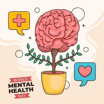 Mão desenhada plano de fundo dia mundial da saúde mental com o cérebro na panela