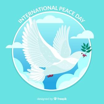 Mão desenhada pomba dia da paz fundo