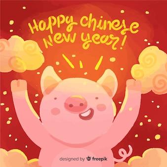 Mão desenhada porco ano novo chinês fundo