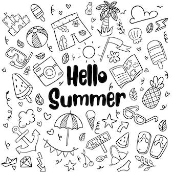 Mão desenhada praia verão doodles isolado vector símbolos e objetos elementos conjunto