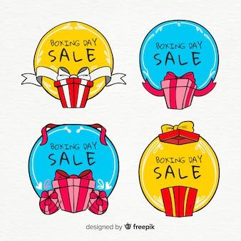Mão desenhada presentes boxe dia venda coleção autocolante