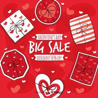 Mão desenhada presentes valentine venda fundo