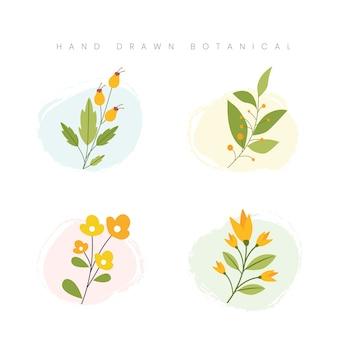 Mão desenhada primavera conceito botânico flor ilustração floral splatter aquarela
