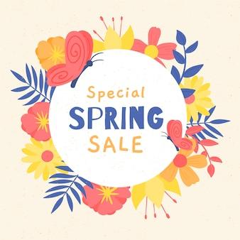 Mão desenhada primavera venda com elementos coloridos