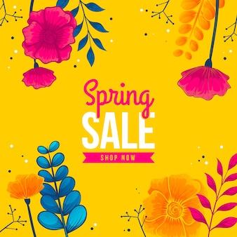 Mão desenhada primavera venda com flores