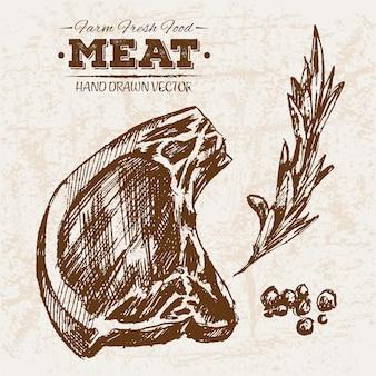 Mão desenhada produtos de carne