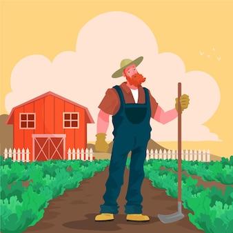 Mão desenhada profissão de agricultor