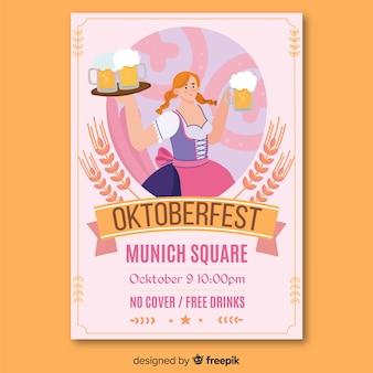 Mão desenhada publicidade de papel oktoberfest