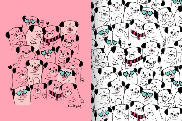 Mão desenhada pug fofo com padrão vector set