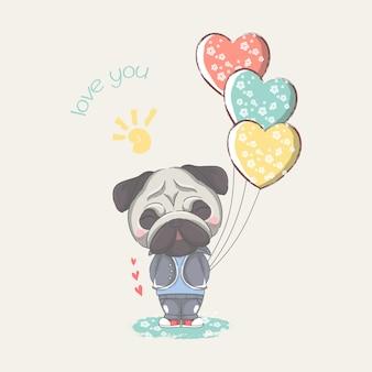 Mão desenhada pug pequeno bonito com ilustração de balões de coração