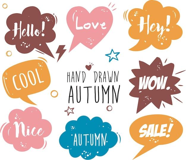 Mão desenhada quadrinhos discurso bolha desenhos animados palavra outono