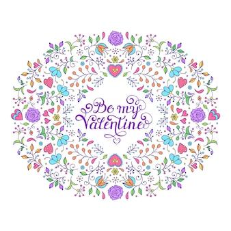 Mão desenhada quadro floral com flores, corações e outros elementos.