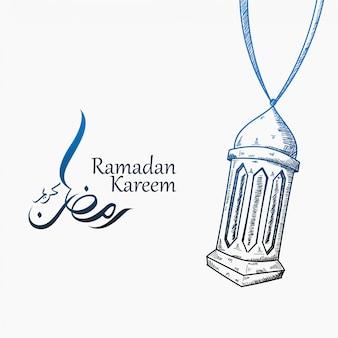 Mão desenhada ramadan kareem com lanterna