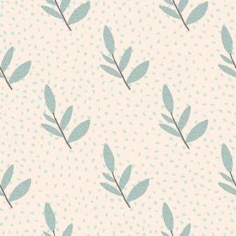 Mão desenhada ramos bonitos com folhas padrão sem emenda sobre fundo de pontos. papel de parede sem fim decorativo primavera ornamental.