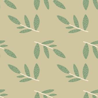 Mão desenhada ramos bonitos com folhas padrão sem emenda sobre fundo verde.