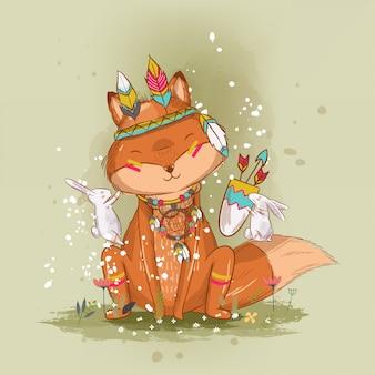 Mão desenhada raposa bonitinha boho ilustração para crianças