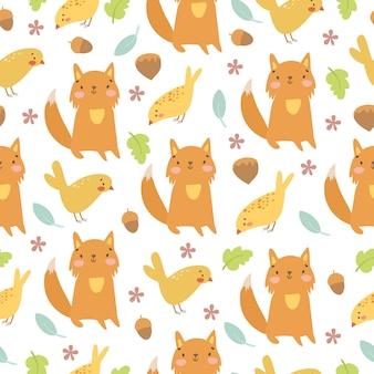 Mão desenhada raposa e pássaros padrão