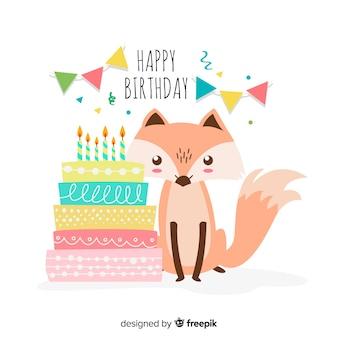 Mão desenhada raposa fundo de aniversário
