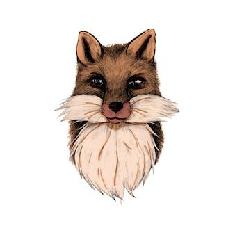 Mão desenhada raposa isolada no fundo branco
