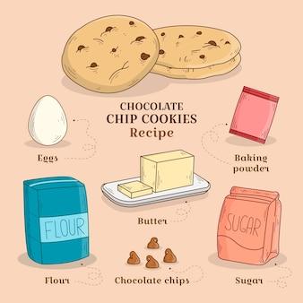 Mão desenhada receita biscoitos de chocolate