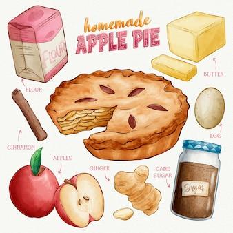 Mão desenhada receita de torta de maçã caseira