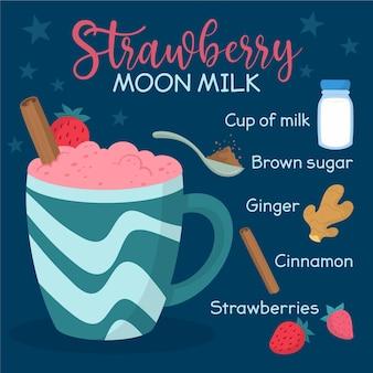Mão desenhada receita lua leite