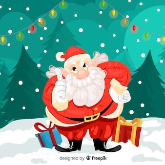 Mão desenhada repreendendo santa natal fundo