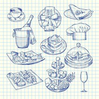 Mão desenhada restaurante ou elementos de serviço de quarto
