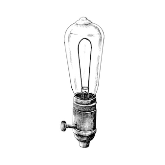 Mão desenhada retrô lâmpada